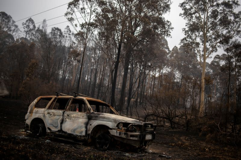 A destroyed car is seen next to burnt bushland in the village of Mogo