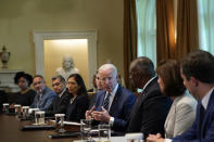 President Joe Biden holds a meeting with his Cabinet in the Cabinet Room at the White House in Washington, Tuesday, July 20, 2021. From left, Deputy Director of the Office of Management and Budget Shalanda Young, Secretary of Education Secretary Miguel Cardona, Secretary of Health and Human Services Secretary Xavier Becerra, Secretary of the Interior Secretary Deb Haaland, Secretary of State Antony Blinken, Biden, Secretary of Defense Lloyd Austin, Secretary of Commerce Secretary Gina Raimondo and Transportation Secretary Pete Buttigieg. (AP Photo/Susan Walsh)