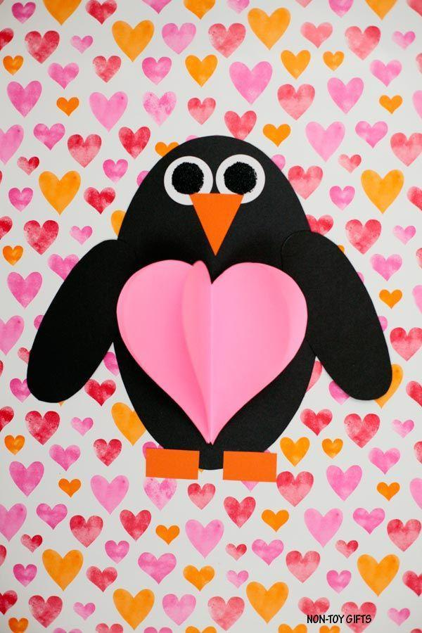 """<p>This blogger notes that her 3-D DIY is great to get your kids to review their shapes. Plus, the end result is just too cute. </p><p><strong>Get the tutorial at <a href=""""https://nontoygifts.com/shape-penguin-3d-heart-craft/"""" rel=""""nofollow noopener"""" target=""""_blank"""" data-ylk=""""slk:Non-Toy Gifts"""" class=""""link rapid-noclick-resp"""">Non-Toy Gifts</a>.</strong></p><p><strong><a class=""""link rapid-noclick-resp"""" href=""""https://www.amazon.com/Pacon-Heavyweight-Construction-12-inches-CON01500/dp/B0078ZZ83Y?tag=syn-yahoo-20&ascsubtag=%5Bartid%7C10050.g.1584%5Bsrc%7Cyahoo-us"""" rel=""""nofollow noopener"""" target=""""_blank"""" data-ylk=""""slk:SHOP CONSTRUCTION PAPER"""">SHOP CONSTRUCTION PAPER</a><br></strong></p>"""
