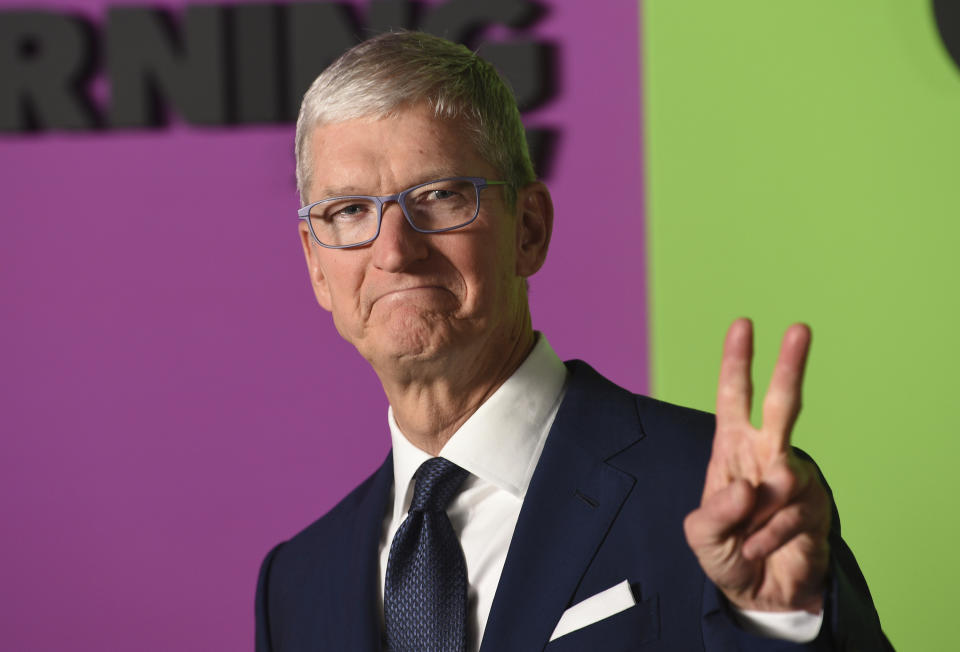 """Apple CEO Tim Cook attends the world premiere of Apple's """"The Morning Show"""" at David Geffen Hall on Monday, Oct. 28, 2019, in New York. (Photo by Evan Agostini/Invision/AP)"""