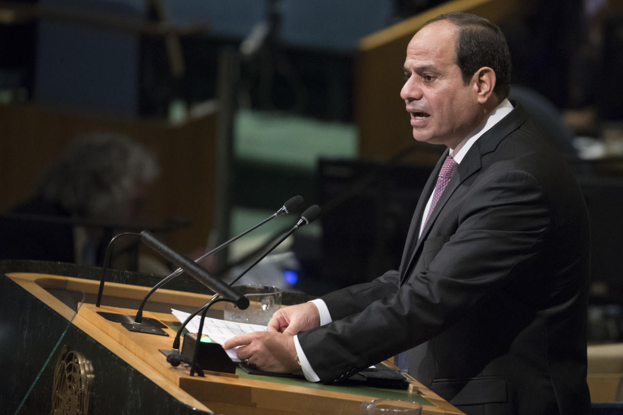 <p> Egyptian President Abdel Fattah al-Sisi speaks during the 72nd session of the United Nations General Assembly at U.N. headquarters, Tuesday, Sept. 19, 2017. (AP Photo/Mary Altaffer) </p>