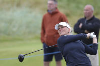Denmark's Nanna Koerstz Madsen plays a driver off the 5th tee during the third round of the Women's British Open golf championship, in Carnoustie, Scotland, Saturday, Aug. 21, 2021. (AP Photo/Scott Heppell)