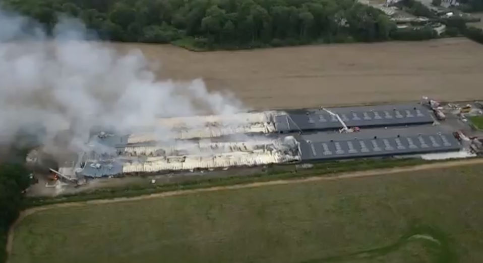 Drone footage showing fire crews controlling the last of the fire (Humberside Fire and Rescue Service/Twitter)