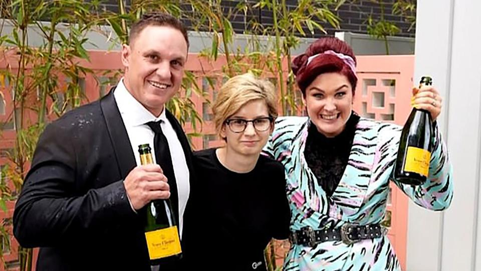 The Block winners Jimmy and Tam with buyer Emese Fajk