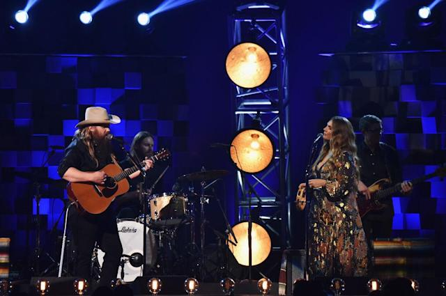 <p>Chris Stapelton and Morgane Stapleton perform onstage at the 51st annual CMA Awards at the Bridgestone Arena on November 8, 2017 in Nashville, Tennessee. (Photo by John Shearer/WireImage) </p>