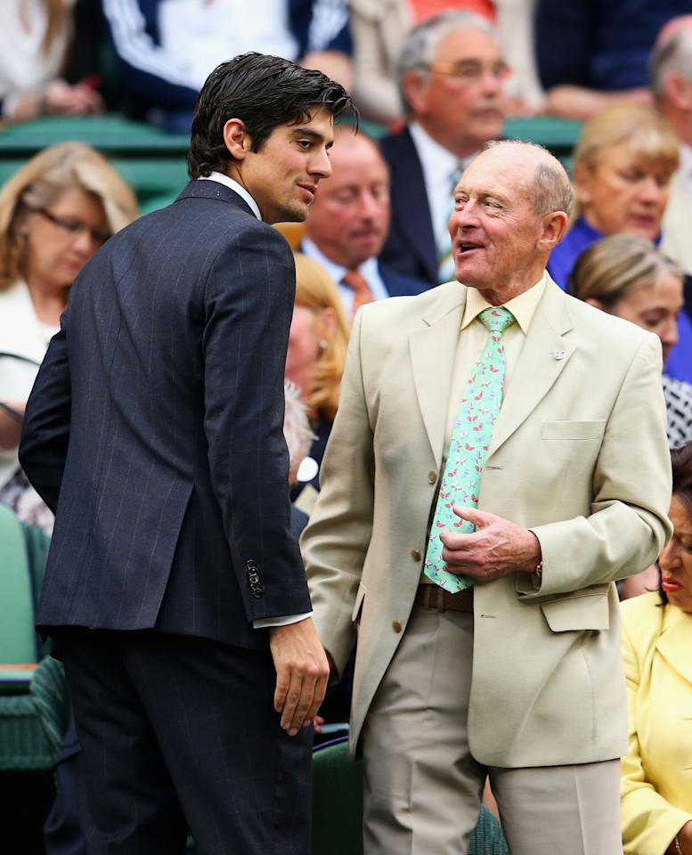 LONDON, ENGLAND - JUNE 28: (L-R) England cricket captain Alastair Cook chats with Geoffrey Boycott as he takes his seat in the Royal Box on Centre Court on day five of the Wimbledon Lawn Tennis Championships at the All England Lawn Tennis and Croquet Club on June 28, 2013 in London, England. (Photo by Julian Finney/Getty Images)