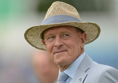FILE PHOTO: Former cricketer Boycott looks on during a lunchtime presentation during the second cricket test match between England and South Africa in Leeds
