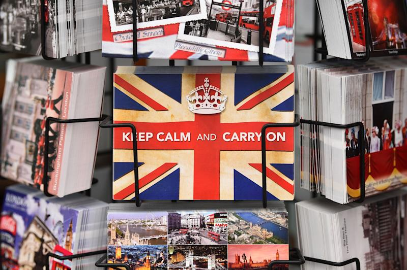 A postcards are seen at a souvenir shop on Westminster Bridge in London on January 31, 2020 on the day that the UK formally leaves the European Union. - Britain on January 31 ends almost half a century of integration with its closest neighbours and leaves the European Union, starting a new -- but still uncertain -- chapter in its long history. (Photo by Glyn KIRK / AFP) (Photo by GLYN KIRK/AFP via Getty Images)