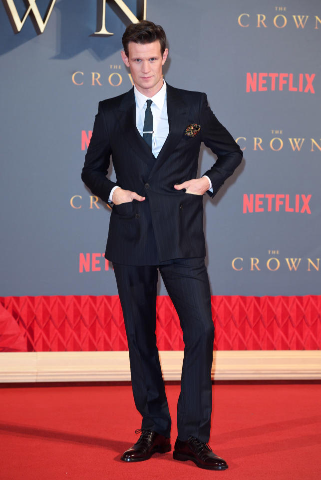 <p>The British actor showed how it's done in a subtly striped suit.<br /><i>[Photo: Getty]</i> </p>