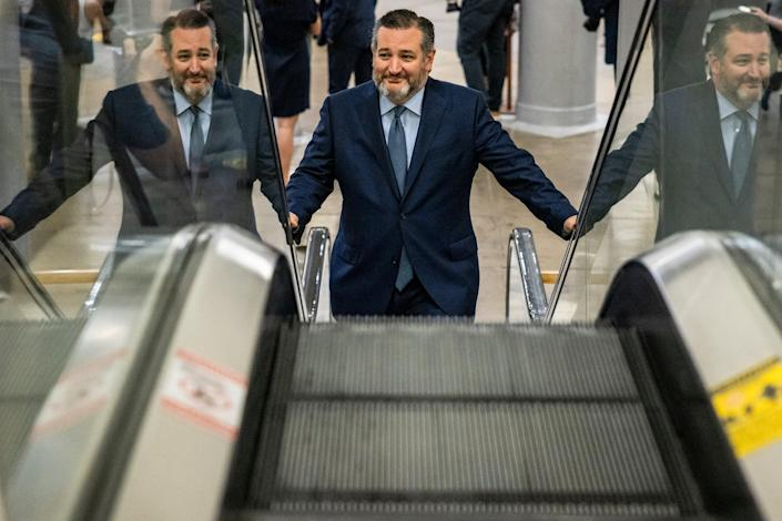 Senator Ted Cruz (R-TX) heads to a vote on the Senate floor on June 8, 2021 in Washington, DC (Getty Images)