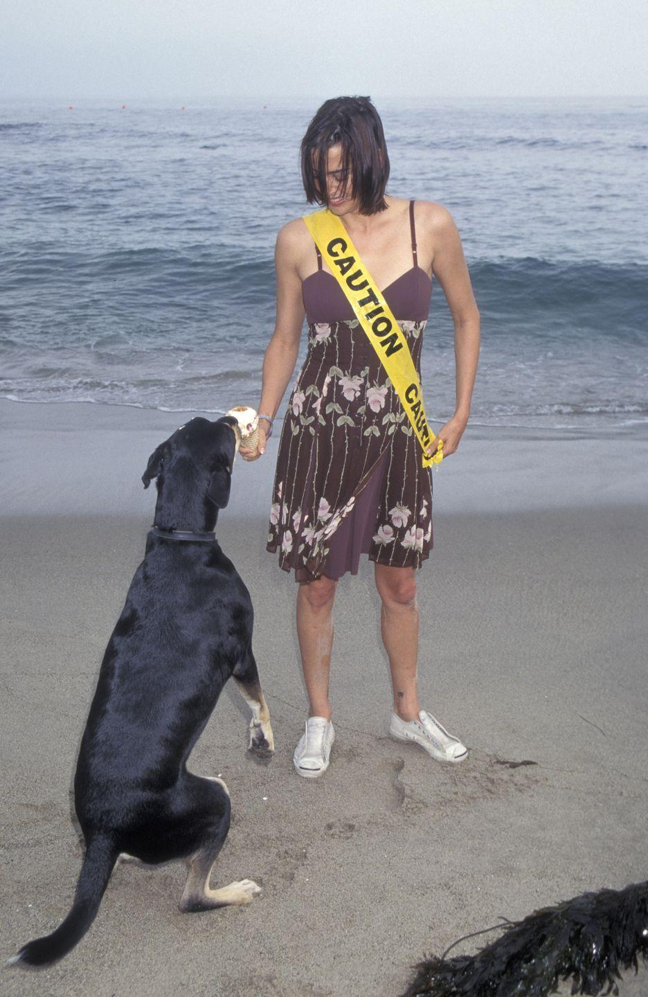 <p>Several pets were in attendance at the event, including Alicia Silverstone's pup, Sampson, but it's unclear whose dog Jennifer Rubin is feeding ice cream to here. Also unclear: where she got that caution tape sash. </p>