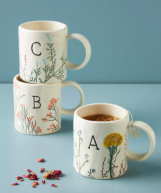 Dagny Monogram Mug. Image via Anthropologie.