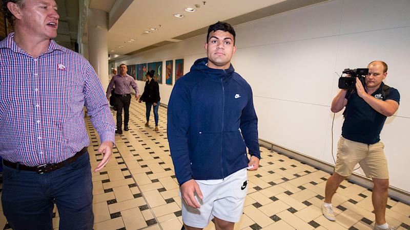 Pictured here David Fifita arrives back at Brisbane airport after being held in custody in Bali.