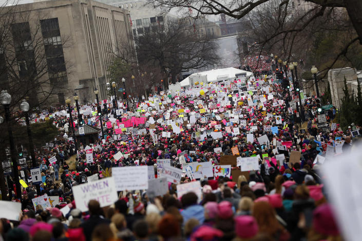 <p>Protesters gather during the Women's March on Washington, Jan. 21, 2017, in Washington, D.C. (Aaron P. Bernstein/Getty Images) </p>