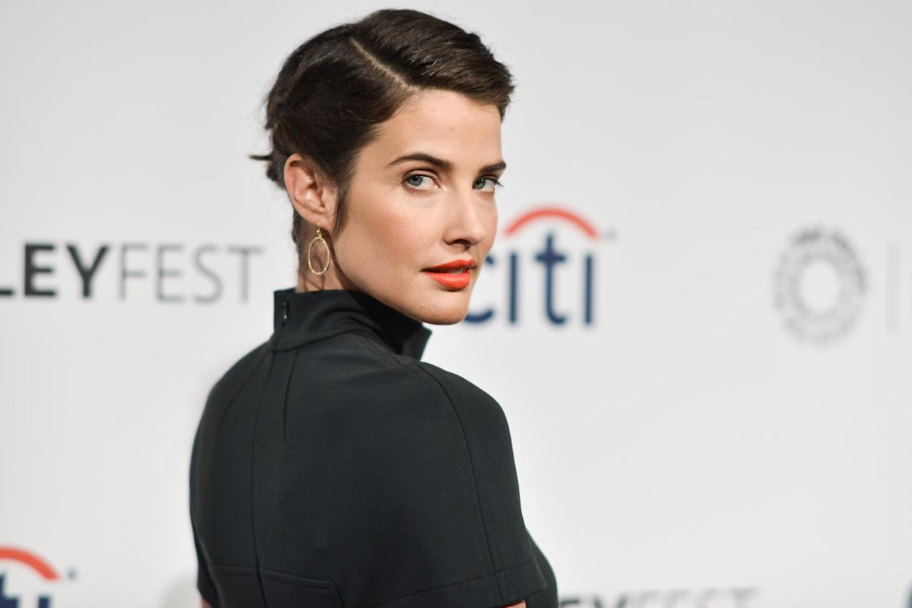 "Cobie Smulders arrives at PALEYFEST 2014 - ""How I Met Your Mother"" Series Farewell on Saturday, March 15, 2014, in Los Angeles. (Photo by Richard Shotwell/Invision/AP)"