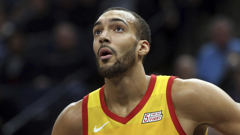 Rudy Gobert was not happy about his All-Star snub. (AP Photo/Jim Mone)