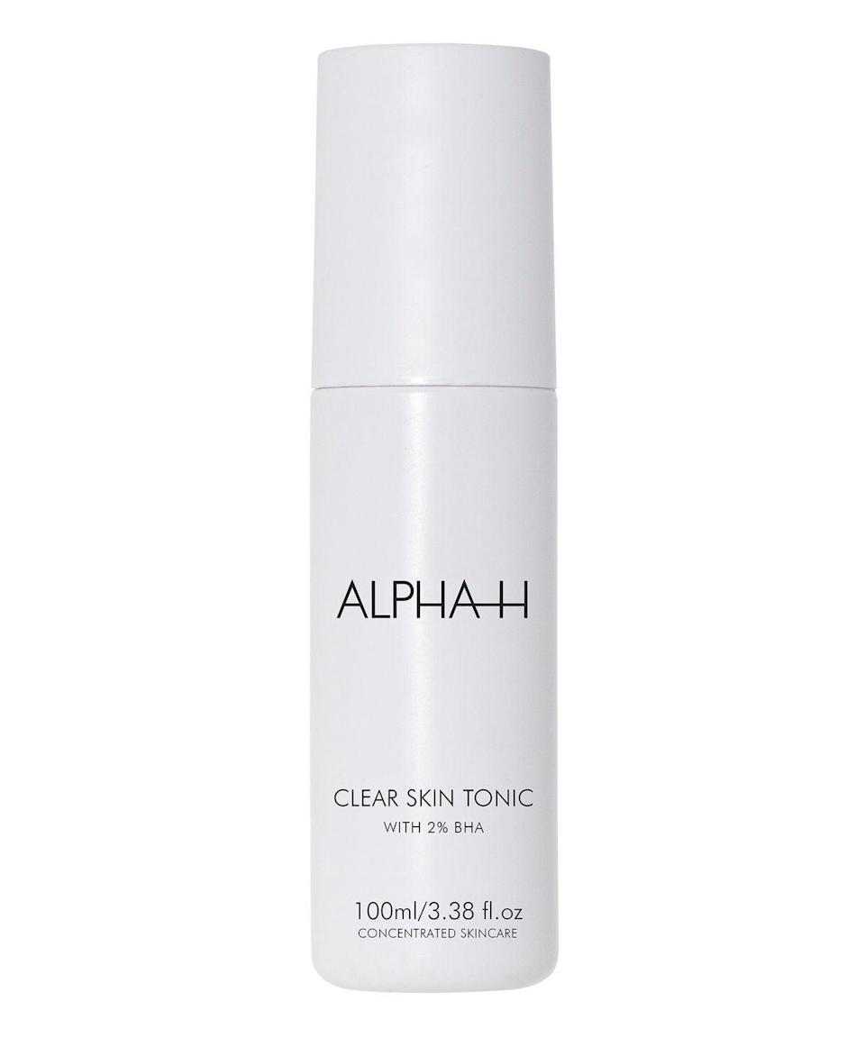 "Used regularly as part of a nighttime routine, this leave-on toner takes skin prone to whiteheads, blackheads and bumps (big or small) and makes it clear and smooth thanks to 2% salicylic acid – something R29's beauty editor can attest to. Swipe on with a soaked cotton pad or if you want to be eco-friendly, with your hands, just as you would face cream. Follow with a lightweight moisturiser. <br><br><strong>Alpha-H</strong> Clear Skin Tonic, $, available at <a href=""https://www.cultbeauty.co.uk/alpha-h-clear-skin-tonic-.html"" rel=""nofollow noopener"" target=""_blank"" data-ylk=""slk:Cult Beauty"" class=""link rapid-noclick-resp"">Cult Beauty</a>"