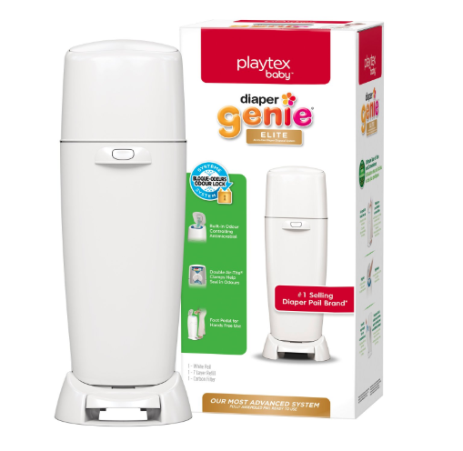 Playtex Baby Diaper Genie Elite Diaper Pail System with Front Tilt Pail for Easy Diaper Disposal. Image via Amazon.