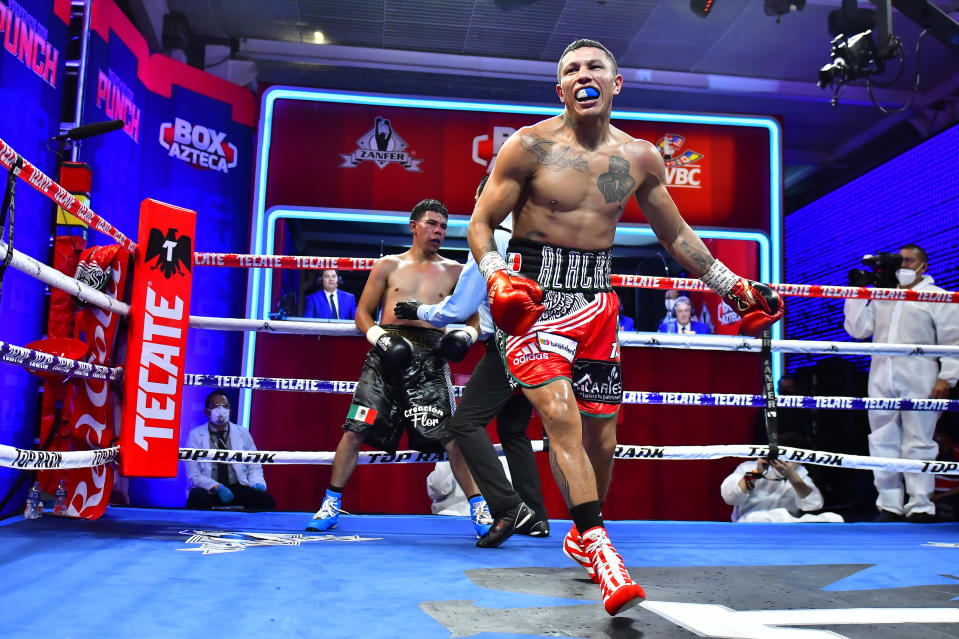 MEXICO CITY, MEXICO - JUNE 27: Miguel 'Alacran' Berchelt celebrates defeating Eleazar 'Tronco' Valenzuela during an unofficial fight At TV Azteca on June 27, 2020 in Mexico City, Mexico. The event is organized and broadcasted by TV Azteca as part of a TV Show. Sporting events are not permitted in Mexico as a preventive measure to halt spread of COVID-19. (Photo by Jaime Lopez/Jam Media for Zanfer/Getty Images)