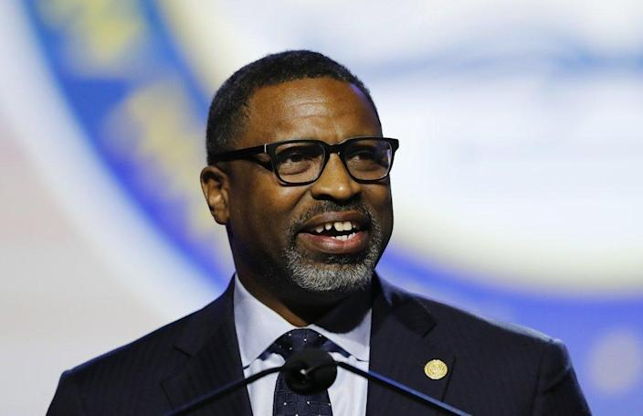 NAACP President and CEO, Derrick Johnson addresses the 110th NAACP National Convention in Detroit on July 22, 2019. (AP Photo/Carlos Osorio, File)