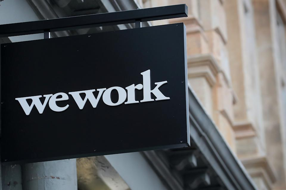 The WeWork logo is displayed outside of a co-working space in New York City, New York U.S., January 8, 2019. REUTERS/Brendan McDermid