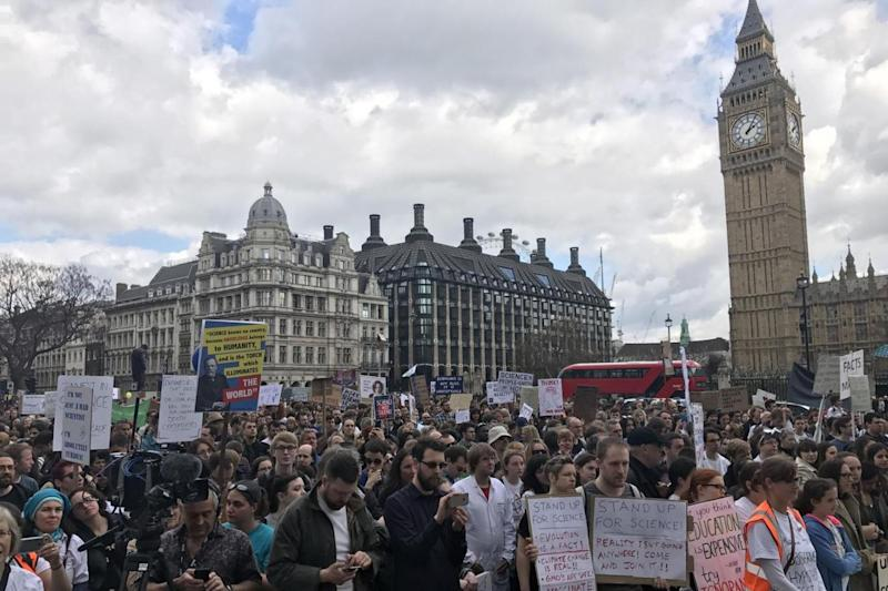 Science march: Protesters at Parliament Square (PA)