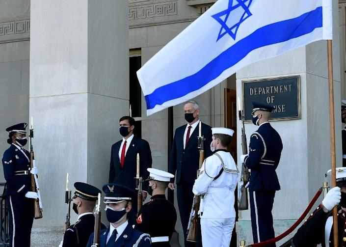 US Secretary of Defense Mark Esper in September 2020 welcomes to the Pentagon Israeli Defense Minister Benny Gantz, who is eager to preserve the Jewish state's strategic military edge in the region