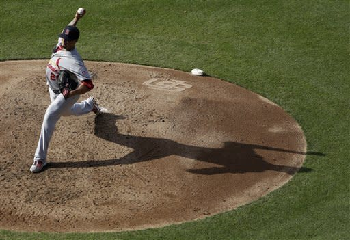 St. Louis Cardinals starting pitcher Kyle Lohse throws against the San Diego Padres during the fourth inning of their baseball game om Wednesday, Sept. 12, 2012, in San Diego. (AP Photo/Gregory Bull)