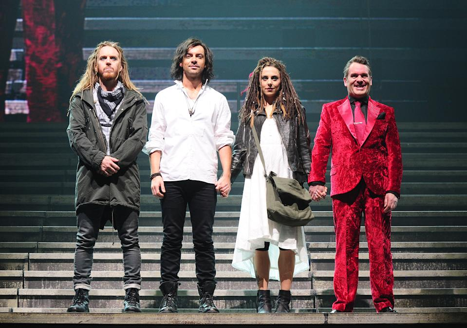 (left - right)Tim Minchin, Ben Forster, Melanie C and Chris Moyles during a dress rehearsal for the new production of Jesus Christ Superstar, at the LH2 centre in London.   (Photo by Ian West/PA Images via Getty Images)