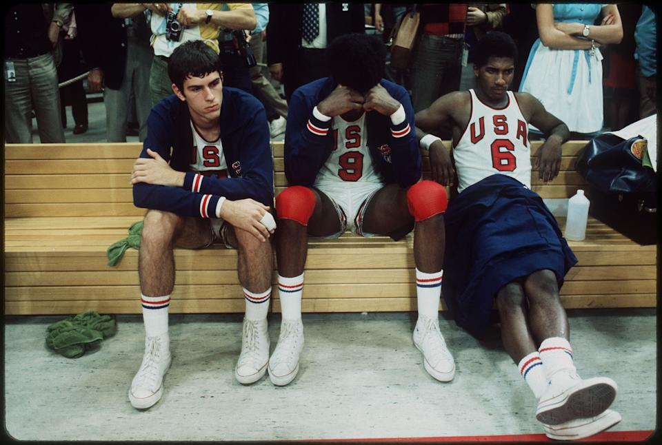 10 SEPT 1972:   The US basketball team shows their frustration to the decision of the officials giving the gold medal to the Soviet Union in at the Olympic games in Munich, West Germany. The final score was 51-50...Photo:  © Rich Clarkson / Rich Clarkson & Assoc.