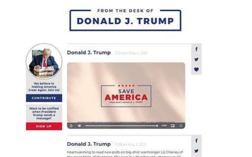 Last News Donald Trump launches new fan communications site after Twitter ban