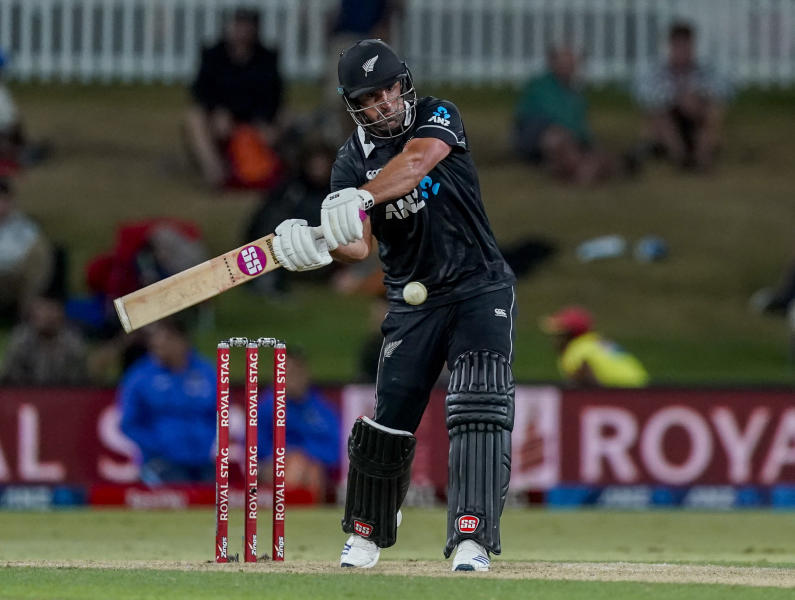 New Zealand's Colin de Grandhomme plays a shot during the One Day cricket international between India and New Zealand at Bay Oval, Tauranga, New Zealand, Tuesday 11 Feb 2020. (John Cowpland/Photosport via AP)