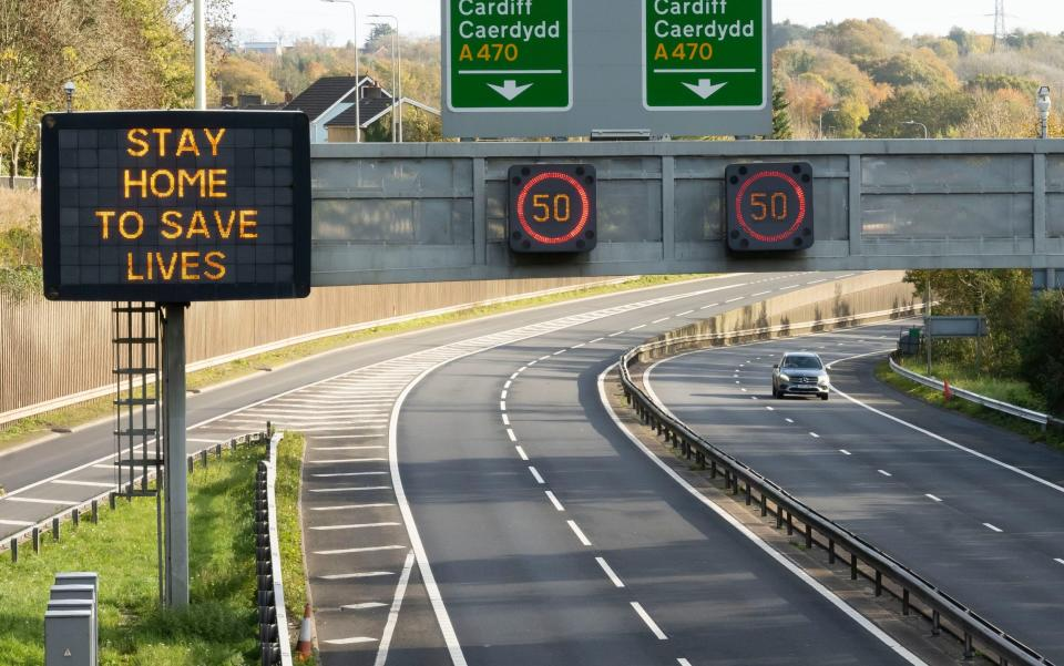 A coronavirus sign on the A470 in Cardiff yesterday. - Matthew Horwood/Getty Images