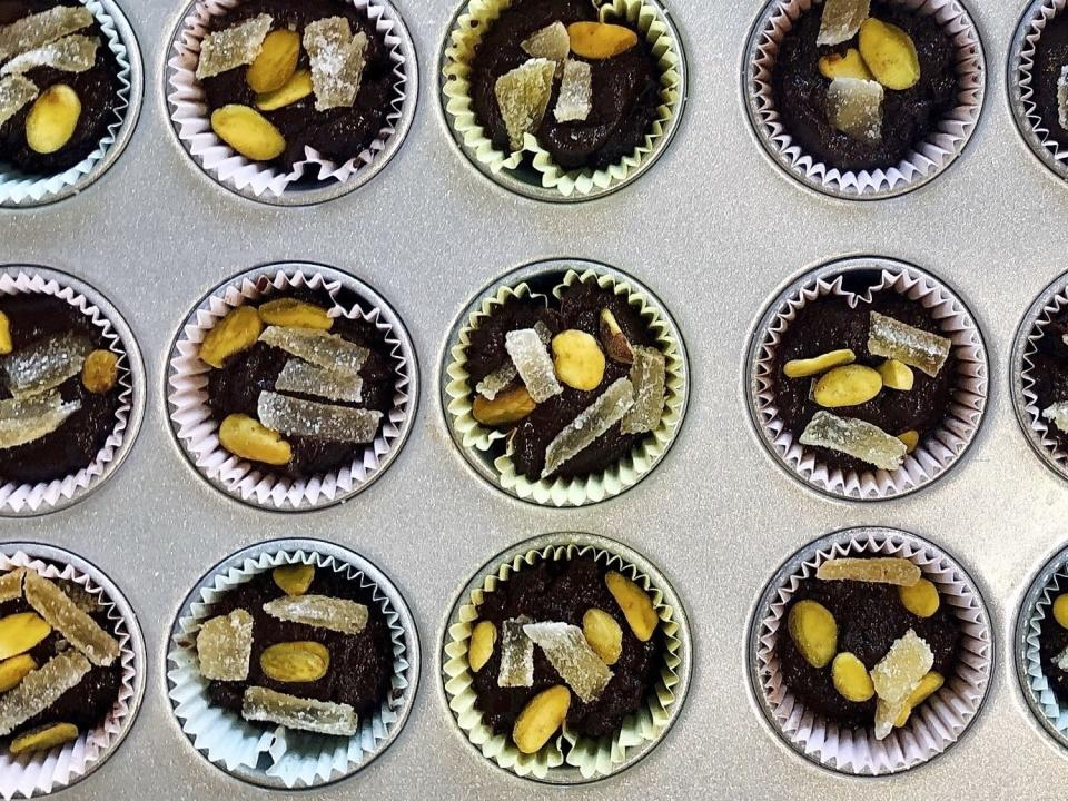 A recipe of chocolate tahini cups, made with 100 percent cacao chocolate chips, is displayed in Alexandria, Va., on Oct. 18, 2020. There's more to cacao than chocolate. The cacao fruit and pulp can be used for cooking as well. (Elizabeth Karmel via AP)
