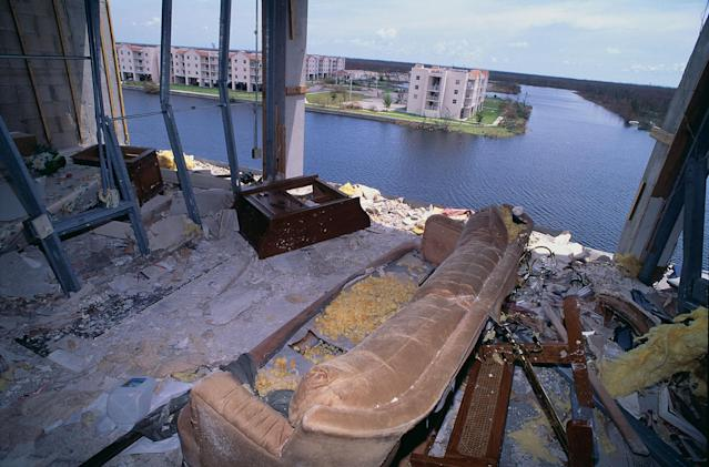 <p>An apartment destroyed by Hurricane Andrew overlooks a Miami waterway. (Steve Starr/CORBIS/Corbis via Getty Images) </p>