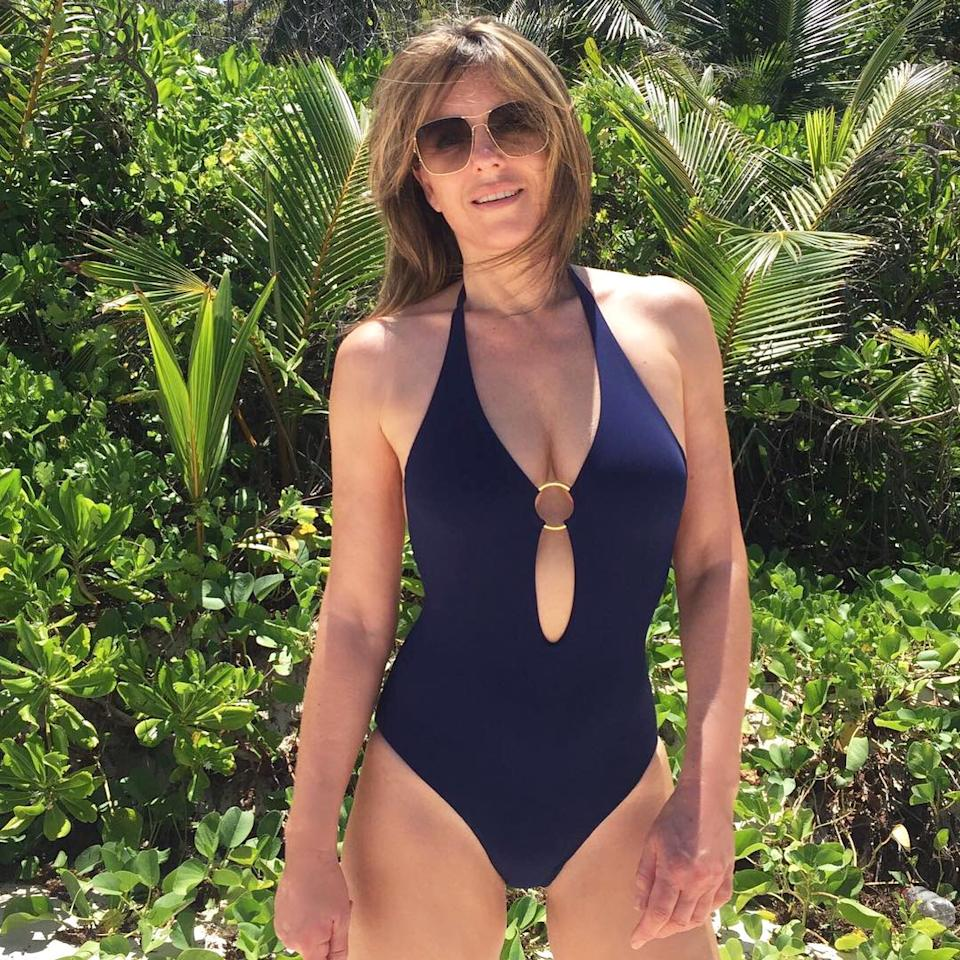 """<p>The 51-year-old <a rel=""""nofollow"""" href=""""https://www.instagram.com/p/BSeQNbuAFqF/?taken-by=elizabethhurley1&hl=en"""">proves</a> one-pieces can be sexy in a plunging cut-out number from her own <a rel=""""nofollow"""" href=""""http://www.elizabethhurley.com/"""">swimwear line</a> while enjoying a tropical vacation.</p>"""