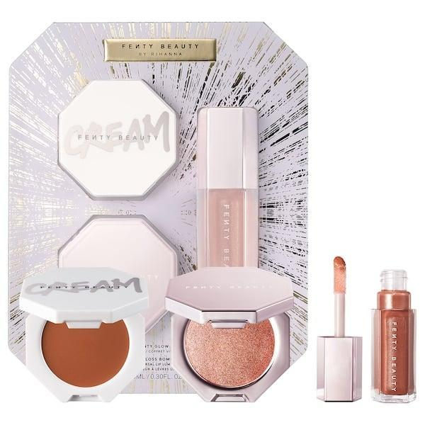<p>They'll get a bronzy glow with the <span>Fenty Glow Trio Face Lip &amp; Body Set</span> ($42).</p>