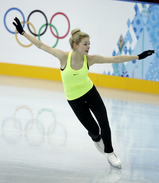 Gracie Gold of the United States skates during a practice session at the figure stating practice rink at the 2014 Winter Olympics, Monday, Feb. 17, 2014, in Sochi, Russia. (AP Photo/Darron Cummings)