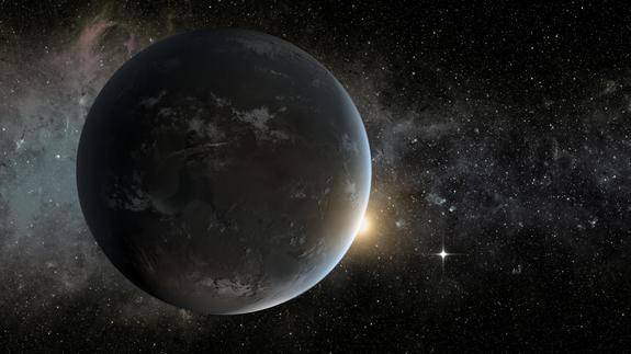 Artist's impression of Kepler-62f, a potential super-Earth in its star's habitable zone.
