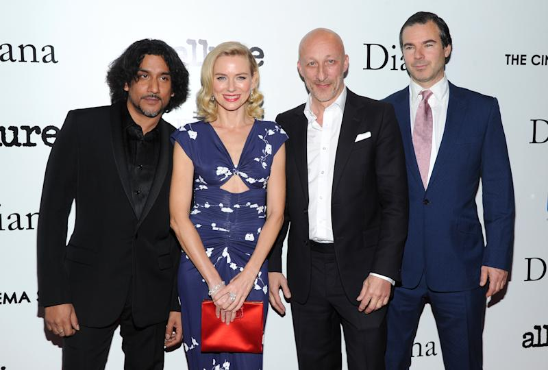 "Actor Naveen Andrews, from left, actress Naomi Watts, director Oliver Hirschbiegel and producer Robert Bernstein, right, attend the premiere of ""Diana"" hosted by The Cinema Society, Linda Wells and Allure Magazine at the SVA Theater on Wednesday, Oct. 30, 2013 in New York. (Photo by Evan Agostini/Invision/AP)"