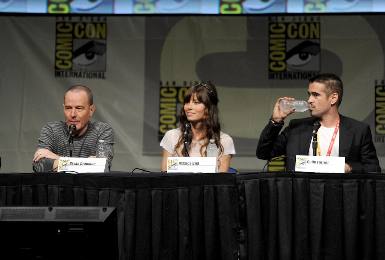 "SAN DIEGO, CA - JULY 13:  Actors Bryan Cranston, Jessica Biel, and Colin Farrell speak during Sony's ""Total Recall"" panel during Comic-Con International 2012 at San Diego Convention Center on July 13, 2012 in San Diego, California.  (Photo by Kevin Winter/Getty Images)"