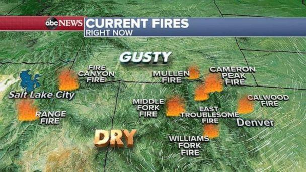 PHOTO: Over the weekend, gusty winds and bone dry conditions spread the fires in Colorado and Utah.  (ABC News)