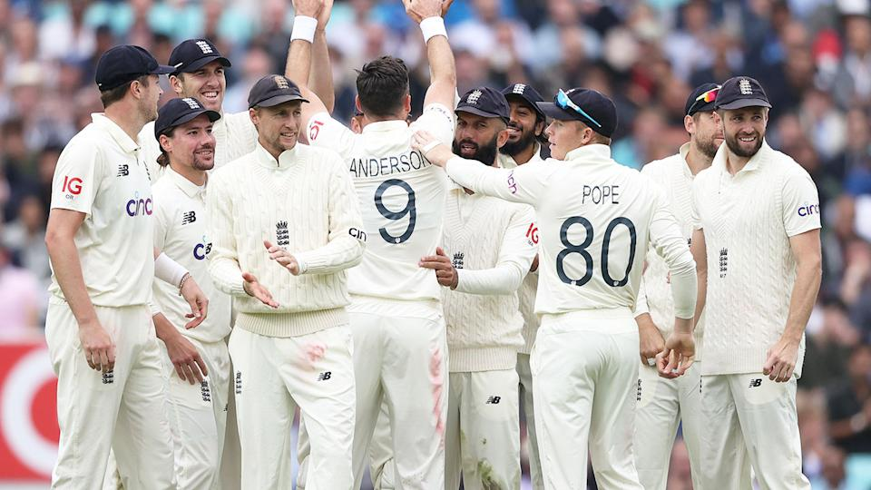 England's mens Test cricket team are seen here during a 2021 series against India.