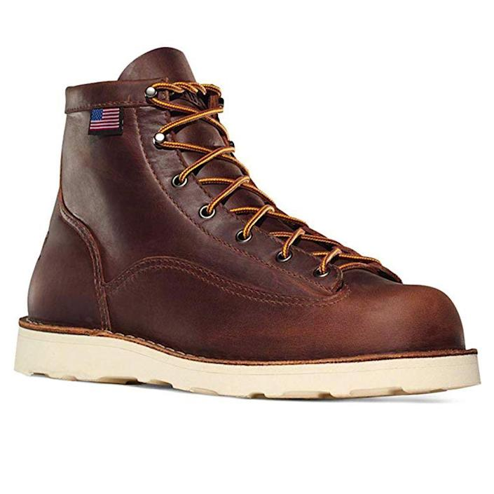 """<p><strong>Danner</strong></p><p>amazon.com</p><p><strong>$190.00</strong></p><p><a href=""""https://www.amazon.com/dp/B00BFZDWFO?tag=syn-yahoo-20&ascsubtag=%5Bartid%7C2139.g.19540212%5Bsrc%7Cyahoo-us"""" rel=""""nofollow noopener"""" target=""""_blank"""" data-ylk=""""slk:BUY IT HERE"""" class=""""link rapid-noclick-resp"""">BUY IT HERE</a></p><p>This classic made-in-America boot is constructed in a durable, 100% full-grain leather that will mold to your foot with time and wear. Take this lightweight pair hiking or to work in any tough terrain; they boast electrical hazard protection. </p>"""