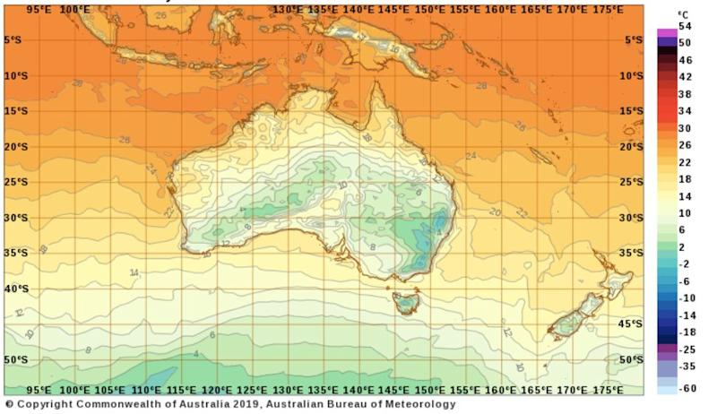 Temperatures across Australia at 7am on Tuesday. Source: Bureau of Meteorology