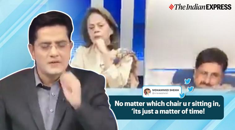 pakistan, pakistan analyst falls off char, PAkistan kashmir issue tv debate, pak analyst falls kashmir debate, funny pak videos, indian express, viral videos
