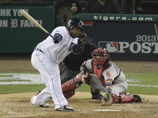 Detroit Tigers' Prince Fielder stikes out to end the eighth inning during Game 3 of the American League baseball championship series against the Boston Red Sox Tuesday, Oct. 15, 2013, in Detroit. (AP Photo/Charlie Riedel)