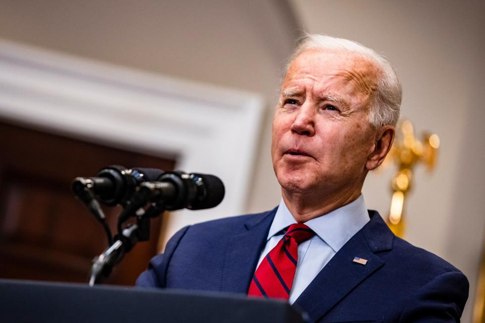 Joe Biden has not wavered from his stance of giving every American the option of receiving a vaccine before sharing supplies with other countries. (Getty Images)