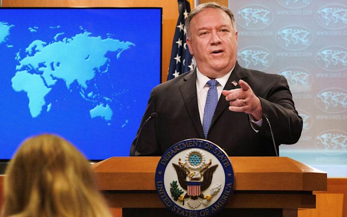 U.S. Secretary of State Mike Pompeo gives a briefing to the media