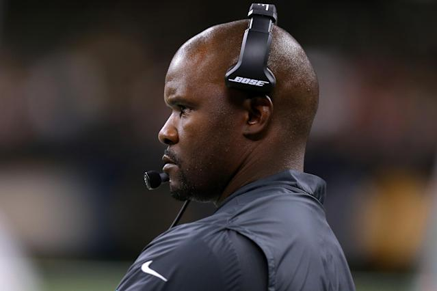 Miami coach Brian Flores insisted on Sunday that the team isn't tanking despite a series of trades this weekend for a massive haul of draft picks. (Jonathan Bachman/Getty Images)